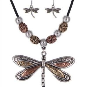 Copper, Silver & Gold dragonfly necklace/earrings